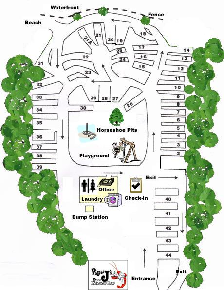 Megunticook Campground Park Map