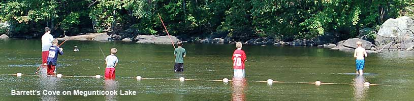 Family fishing in Barrett's Cove Megunticook Lake