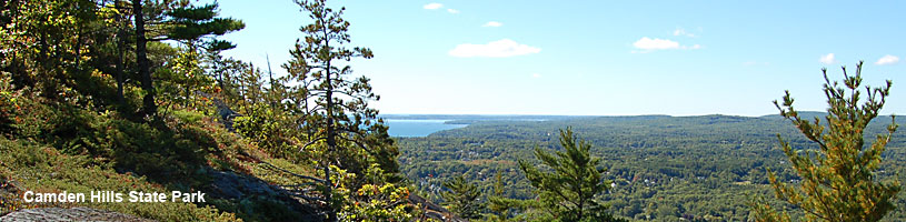 View of Camden Harbor from Mount Battie summit in Camden Hills State Park